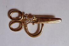 "Large Gold Tone Hair Stylist Scissors Brooch w Rhinestones 2.25"" Missing 2 stone"