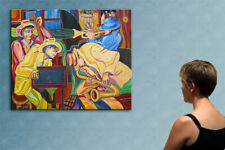 """57"""" JAZZ MUSIC - original cubist painting oil on canvas by ANNA !!!"""