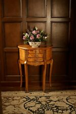 Hampton Walnut Demilune Side / Lamp Table With 3 Drawers Tw004