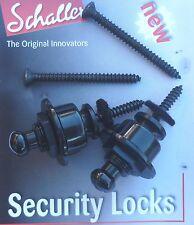 Genuino Original Schaller Cerraduras De Seguridad Negro Correa de Guitarra 1446 Straplocks