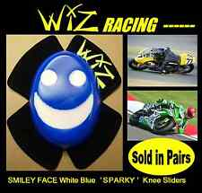 SPARKY WIZ KNEE SLIDERS SMILEY FACE WHITE BLUE