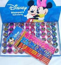 Disney Mickey 12 Pencil & 12 Self Inking Stamper Topper Combo Party Favor Filler
