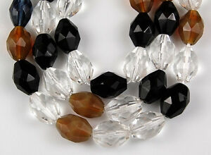 20 Fire Polished Faceted Mixed Oval Crystal Black Opal Brown Craft Glass Beads
