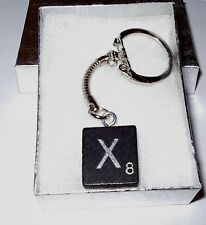 """X"" BLACK  SCRABBLE WOOD TILE KEY CHAIN  RING  KEYCHAIN"