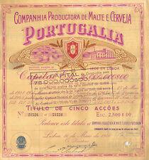 Portugal 1946 Beer Productora Malte Cerveja Portugalia 5 shares Deco 2 revenue