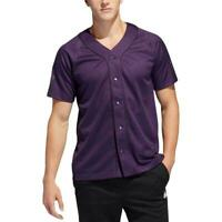 Adidas Mens Top Purple Size Small S Button Snap Activewear Short Sleeve $45 #031
