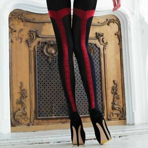 Ladies Glamorous Vixen Couture Tuxedo Opaque Seamed Tights Large Black-Red