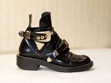 1500$ BALENCIAGA Ceinture black leather cut out chunky combat boots 39 us8.5 uk6