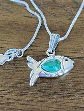 "Fish Pendant 18"" Chain Necklace Carolyn pollack Relios Sterling Silver Malachite"