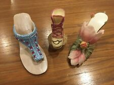 Lot 4 Miniature Shoes Resin Summer Mini Collectible Heels Floral