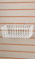 "Lot of 2 New Retails White Finished Wire Slatwall Basket 12""L x 8""W x 4""D"