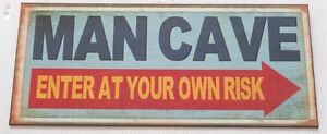 'Man Cave - Enter at Your Own Risk' Tin Metal Rustic Bar Garage Wall Sign *NEW*