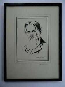 Pre-Raphaelite artist William Holman Hunt pen ink portrait by ?? Boswell c1900