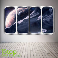 SPACE PLANET WINDOW WALL STICKER FULL COLOUR EARTH PLANETS SPACE SHIP SP4