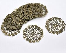 New 30 Bronze Tone Filigree Flower Wraps Connectors 50mm