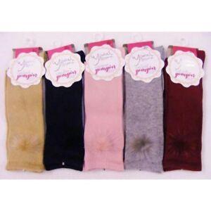 Romany Spanish unisex Knee High Fur pompom Socks by pom pom Age Newborn to Age 6