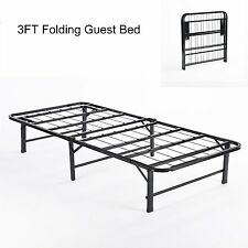 3FT Solid Single Folding Guest Bed with Metal Frame Home for Kids Adults - Black