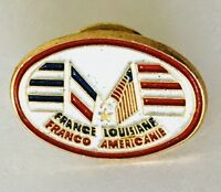 France Louisiana Franco American Twin Flags Pin Badge Rare Vintage (C18)