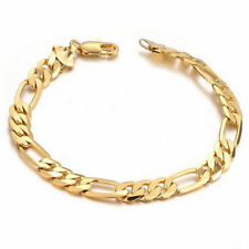 Mens Chain Flat Gold Plated Stainless Steel Bracelet Bangle Cuff Charm Gift 6mm