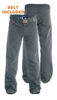 """DUKE LONDON MENS BEDFORD CORD JEANS TROUSERS WITH BELT CHARCOAL 30""""-40"""" (152501)"""
