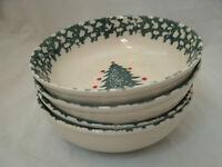 "Tienshan WINTER WONDERLAND Set of 4-6 5/8"" Cereal Bowls Christmas Spongeware EC"