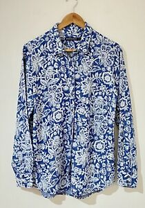 Sportscraft Size 12 Shirt Top Blue White Floral Lyocell Chambray Long Sleeve