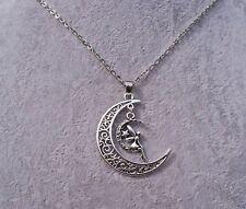 Tibetan Silver Filigree Crescent Moon,Fairy Moon Charm Pendant Necklace.Handmade