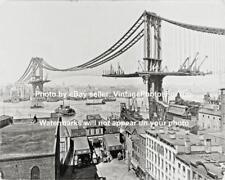 Old Antique Vintage New York City Manhattan Bridge Construction Steamboat Photo