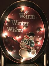 "HOLIDAY TIME Light-Up PVC Wall Sign ""WARM WINTER WISHES"" Snowman NEW Box XMAS"