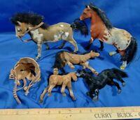 Vintage 5 Model Toy Horse LOT Flocked Fur Mini Cowboy Western Wild West