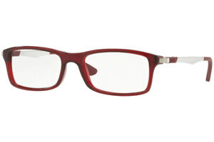NEW Authentic Ray Ban RX7017-5773 Transparent Red  Eyeglasses  52-17-140