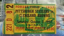1957 STEELERS vs BROWNS Ticket Stub JIM BROWN Rookie Year 2nd Game VERY RARE