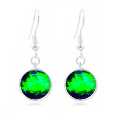 Gemstone Black Tibet Silver Dome Photo 16MM Glass Cabochon Long Earrings #201