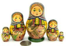MATRYOSHKA Russian nesting dolls RYABOVA small Babushka Girls flowers 5 signed