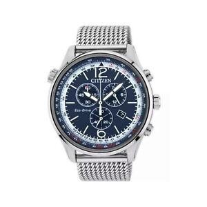 Citizen Eco Drive Cronografo Uomo Quadrante Blu Cinturino Milanese AT0361-81L
