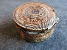 NORTHWEST COAST WOVEN GRASS BASKET with LID WITH COA PAPER FROM MUSEUM #WY-02184