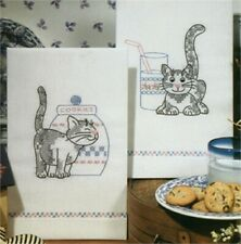 """Tobin Stamped For Embroidery Kitchen Towels 17""""X30"""" 2/Pkg-Kittens"""