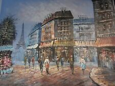 Vintage Oil Painting Paris France Street With View Of Eiffel Tower