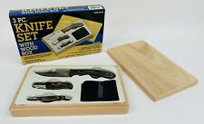3 Piece Knife Set. Fixed Blade Hunting ~ Two Folding Knives New