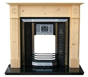 Cast Iron highlighted tiled fireplace with floral pattern