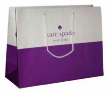 "TWO Kate SPADE Shopping Paper Gift Bag Purple  White 16"" x 12"" x 6"" NEW DESIGNER"
