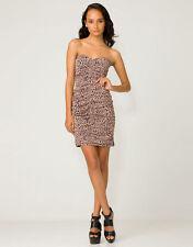 Topshop Motel Rocks Party Bodycon Dress Ruched Animal Print Size L UK 14 BNWT