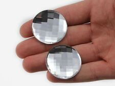 35mm Crystal Clear H102  Flat Back Round Acrylic Gems  - 6 PCS