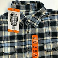NEW Jachs Heavy Flannel Blue Black Plaid Button Mens Casual Shirt 2XL 2X-Large
