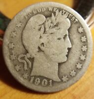 1901 O Barber Quarter - Scarce Very good VG Obverse AG About Good Reverse Key