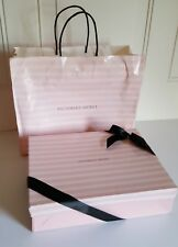 Vintage Victoria's Secret Pink and White Striped Gift Box and Bag Bow