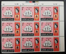 Gibraltar 1967 QE2 ½d Ships Issue SG200. Corner Block of 9 MNH