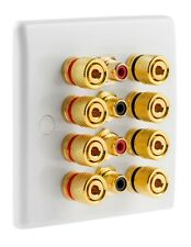 Slimline White 4.4 Speaker Wall Plate Gold 8 Binding Posts + 4 RCA's
