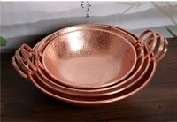 Pure Copper Handmade Frying Pan Cookware Pot Purple Double Handle Cooking
