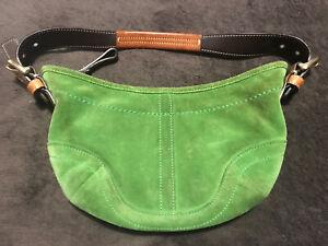Vintage Coach Shoulder Soho Brown Dark Lime Green Suede/Leather Hobo Bag